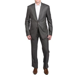 Versace Men's Diagonal Stitch Two-Piece Wool Suit Grey/Brown