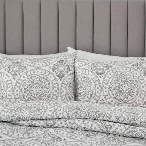 Nourison Dreamscape Grey Bohemian Medallion 3 PC Comforter Set