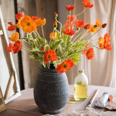 "RusticReach Silk Common Poppy Flower Stem 22"" Tall"