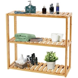Costway Multifunctional 3 Bamboo Shelf Adjustable Rack Utility Storage Organizer Stand - bamboo color