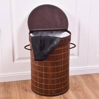 Costway Round Bamboo Hamper Laundry Basket Washing Cloth Storage Bin Bag W/Folding Lid Brown