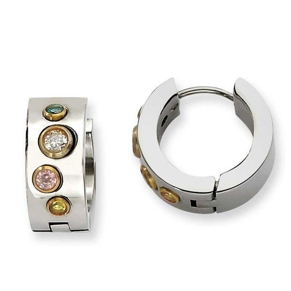 Chisel Stainless Steel Polished Multicolor CZs & Gold Plated Hinged Hoop Earrings