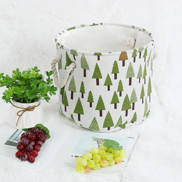 "Linen Fabric Storage Bin Toy Box Basket Organizer - Green Tree - 13"" x 9.8"""