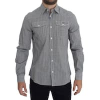 Versace Jeans Versace Jeans Gray Checkered Casual Cotton Shirt - 48-m