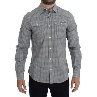 Versace Versace Gray Checkered Casual Cotton Shirt - 48-m
