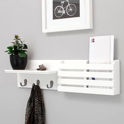 Wall Shelf and Mail Holder with 3 Hooks White,24-Inch by 6-Inch