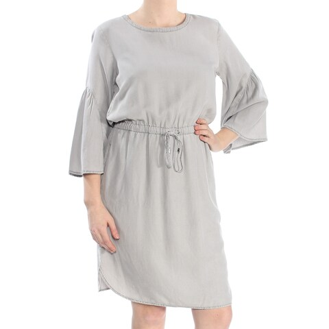 RALPH LAUREN Womens Gray Pleated Bell Sleeve Crew Neck Knee Length Empire Waist Dress Size: 12