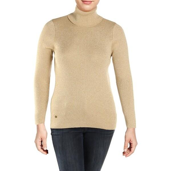 1d4a91b66 Lauren Ralph Lauren Womens Plus Turtleneck Sweater Metallic Ribbed - 1x