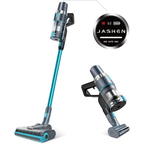 JASHEN V18 Cordless Stick Vacuum Cleaner, Cordless Stick Vacuum with LED Panel, for Hardwood Floors,Carpet/Rug,Lake Blue