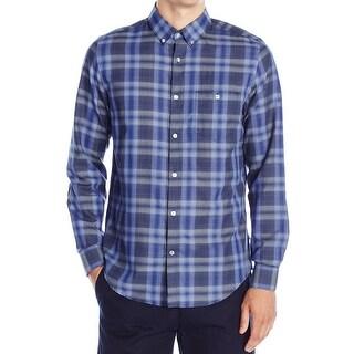Calvin Klein NEW Blue Mens Size XL Button Down Plaid Long Sleeve Shirt