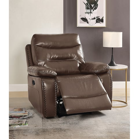 TiramisuBest Modern Recliner Brown Leather-Gel Match