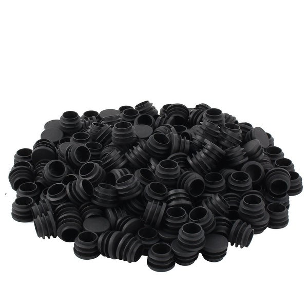 Table Chair Plastic Flat Base Round Tube Pipe Insert Cover Black 25mm Dia 200pcs