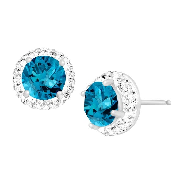 Crystaluxe December Earrings with Sky Blue Swarovski Elements Crystals in Sterling Silver