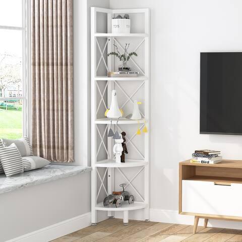 5-Tier Corner Shelves Small Bookshelf Bookcase Corner Plant Stand