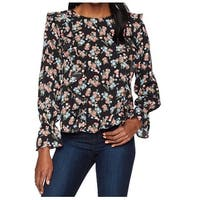 Kensie Black Women's Size Small S Ruffle Floral print Blouse