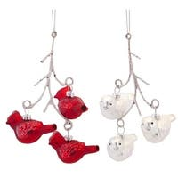 Pack of 6 Red and White Cardinal Birds on Branches Glass Christmas Ornaments 6.5""
