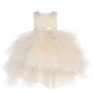 Little Girls Champagne Satin Tutu Hi-Low Tape Sash Flower Girl Dress