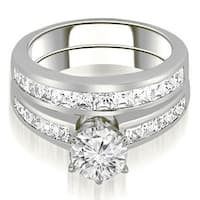 14KT White Gold 2.05 ct.tw Channel Set Princess Cut Diamond Matching Bridal Set