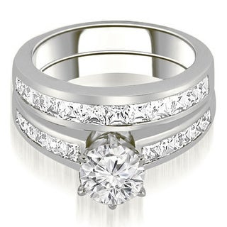 14K White Gold 2.05 ct.tw Channel Set Princess Cut Diamond Matching Bridal Set HI, SI1-2