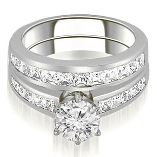 14KT White Gold 2.05 ct.tw Channel Set Princess Cut Diamond Matching Bridal Set