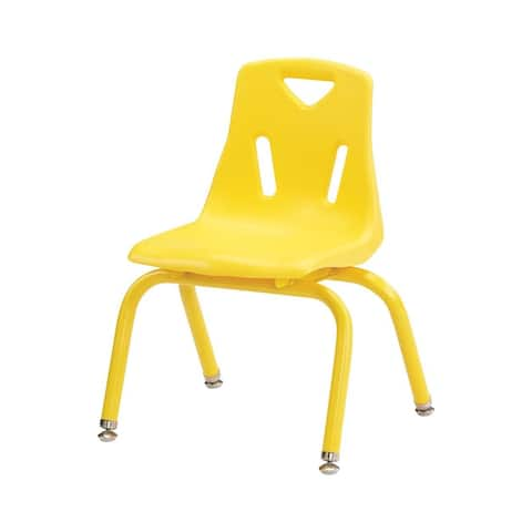 "Offex 8"""" Ht Set of 6 Powder-Coated Legs Stacking Chairs - Yellow"