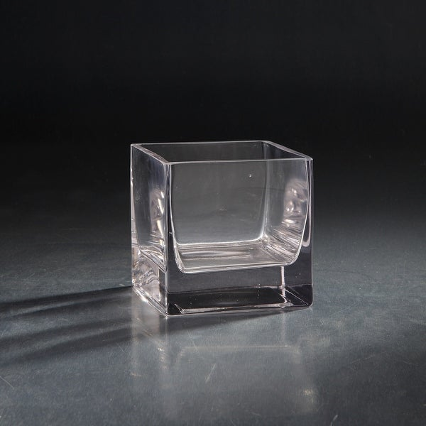 """5"""" Clear Square Glass Floral Vase Tabletop Decor - N/A"""