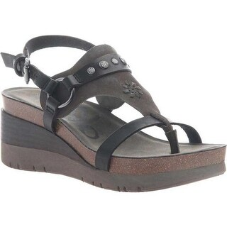 OTBT Women's Maverick Wedge Sandal Black Leather