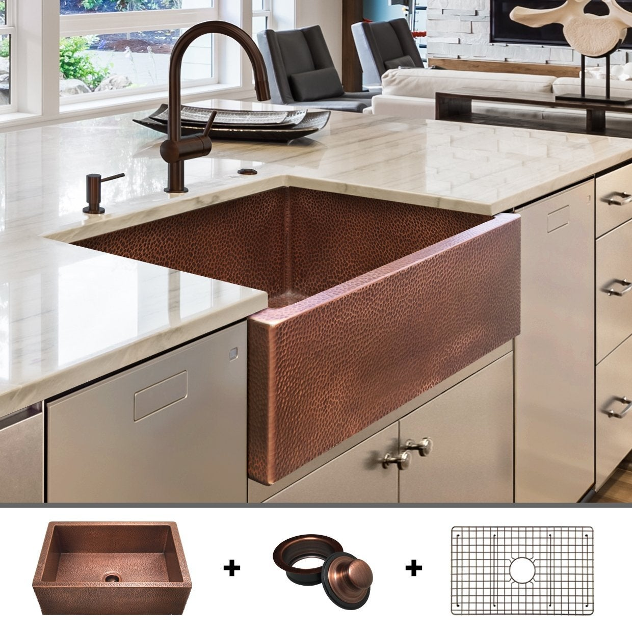 Heavy 12 Gauge Luxury 30 Inch Copper Farmhouse Sink 44 Lbs Of Pure Copper Includes Grid And Flange By Fossil Blu 30 X 22 Overstock 27638405