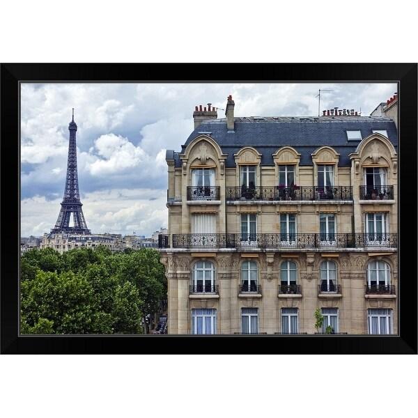 """""""Eiffel Tower and Building, 7th Arrondissement, Paris, Ile-de-France, France"""" Black Framed Print"""