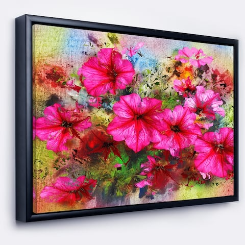 Designart 'Purple Flowers Composition Watercolor' Floral Art Framed Canvas Print