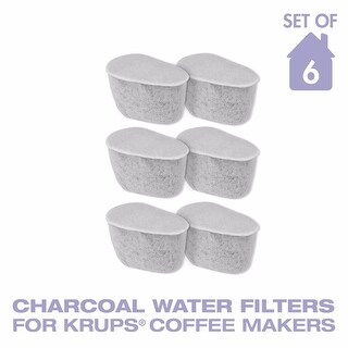 GoldTone Charcoal Water Coffee & Espresso Filter Cartridges, Replaces Krups F47200 Duo Charcoal Water Filters- Set of 6