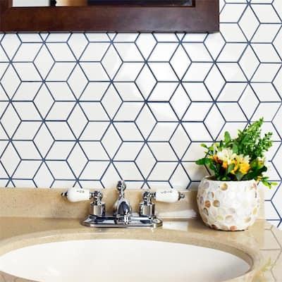 "SomerTile Metro Rhombus Glossy White 10.5""x12.13"" Porcelain Mosaic Floor and Wall Tile"