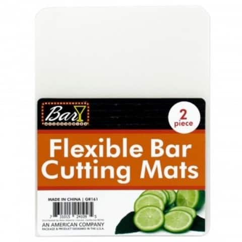 """2 Piece 5.75"""" x 6.75"""" Flexible Transparent Plastic Bar Cutting Mat - Perfect for Slicing Limes and Cocktail Ingredients"""