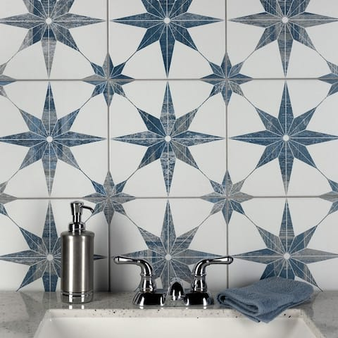 """SomerTile Cassis Stella Blue 9.75"""" x 9.75"""" Porcelain Floor and Wall Tile"""