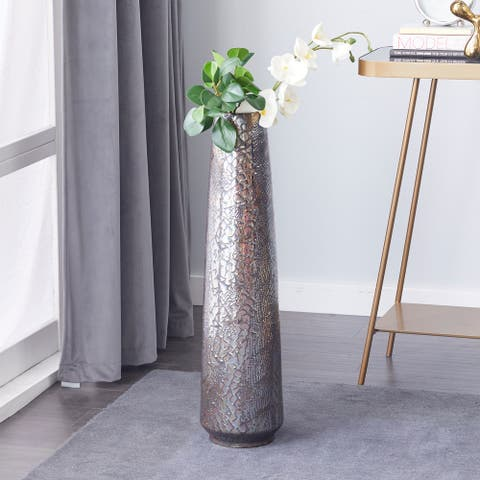 Silver Ceramic Contemporary Vase 31 x 8 x 8 - 8 x 8 x 31