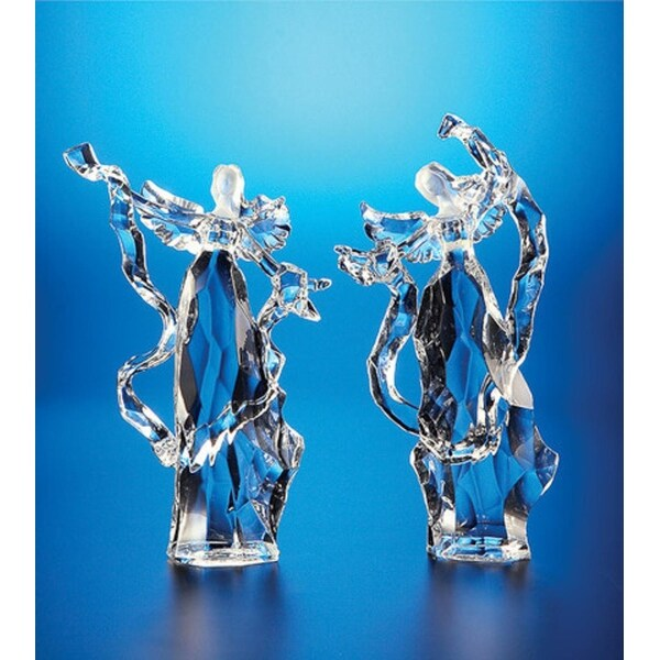 "Pack of 8 Icy Crystal Religious Christmas Ribbon Angel Figurines 7.5"" - CLEAR"