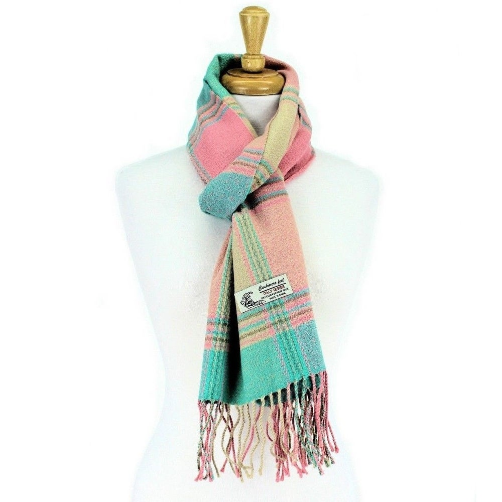 Abstract Geometric Patterns Cashmere Feel Scarves with Tassels for Men Women