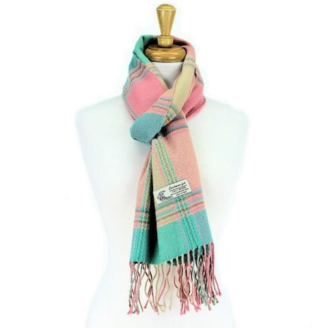 Plaid Cashmere Feel Classic Soft Luxurious Scarf For Men And Women - Green/Pink
