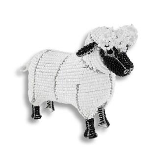 Beadworx White and Black Glass Bead Sheep Sculpture