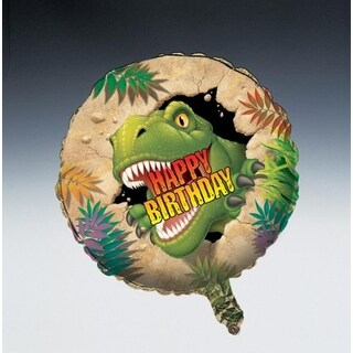"Club Pack of 12 Dino Blast Metallic ""Happy Birthday"" Foil Party Balloons"
