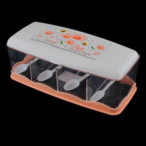 Plastic Flower Print 4 Slots Spices Condiment Container Dispenser Case Orange