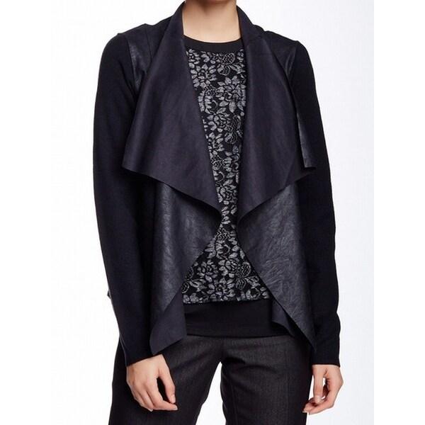 T Tahari NEW Black Womens Size Medium M Faux-Leather Cardigan Sweater