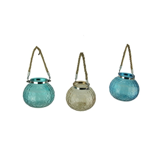 Glass Globe 5 inch Tealight Candle Lanterns with Rope Handles Set of 3 - 5 X 5 X 5 inches