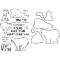 Hero Arts Clear Stamp & Die Combo-Polar Greetings
