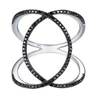Prism Jewel 0.31Ct Round Black Diamond Criss Cross Wrap Ring, 925 Sterling Silver Size 7