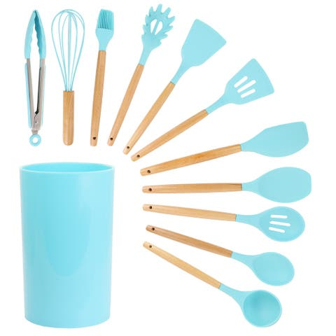 MegaChef 12 Piece Light Teal Silicone and Wood Kitchen Utensil Set