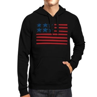 Unique USA Flag Hoodie Unisex Black Round Neck Pullover Fleece
