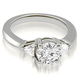 1.15 cttw. 14K White Gold Round Trillion Three Stone Diamond Engagement Ring
