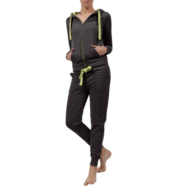 NE PEOPLE Womens Color block zip up jacket and jogger sweatpants with wide drawstring (NEWTS07)