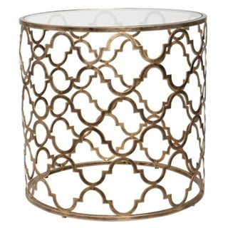 """25"""" Quatrefoil Antique Gold Iron and Clear Tempered Glass Round Accent End Table"""